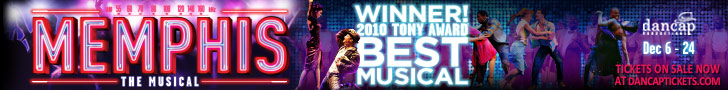 Memphis the Musical 728 x 90 banner ad